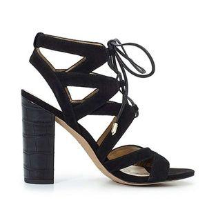 Sam Edelman black strappy lace up sandals